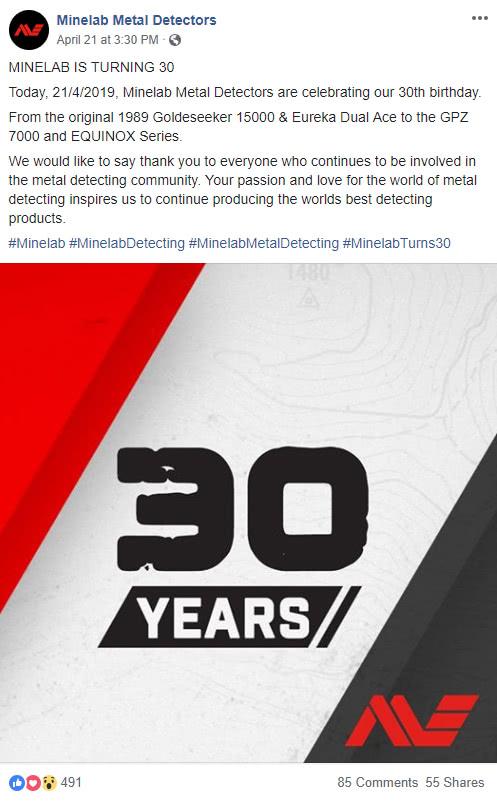 Minelab Turns 30