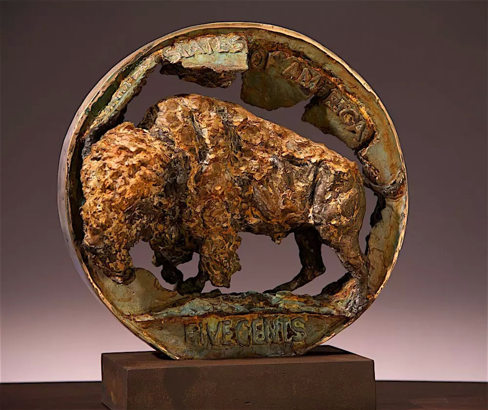 Old Indian Head Buffalo Coin Art