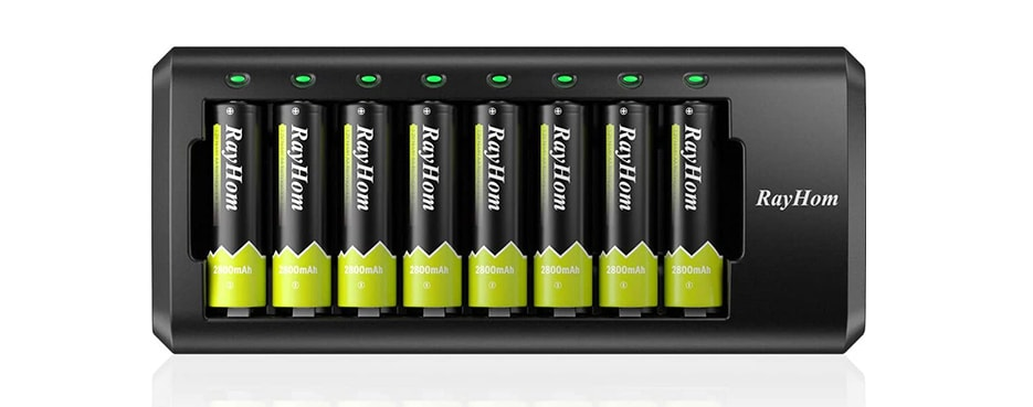 RayHom Rechargeable AA Batteries with Charger 8 Pack of 2800mAh