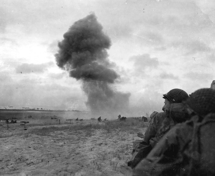 A grenade exploded on the beach of Utah Beach during the D-Day